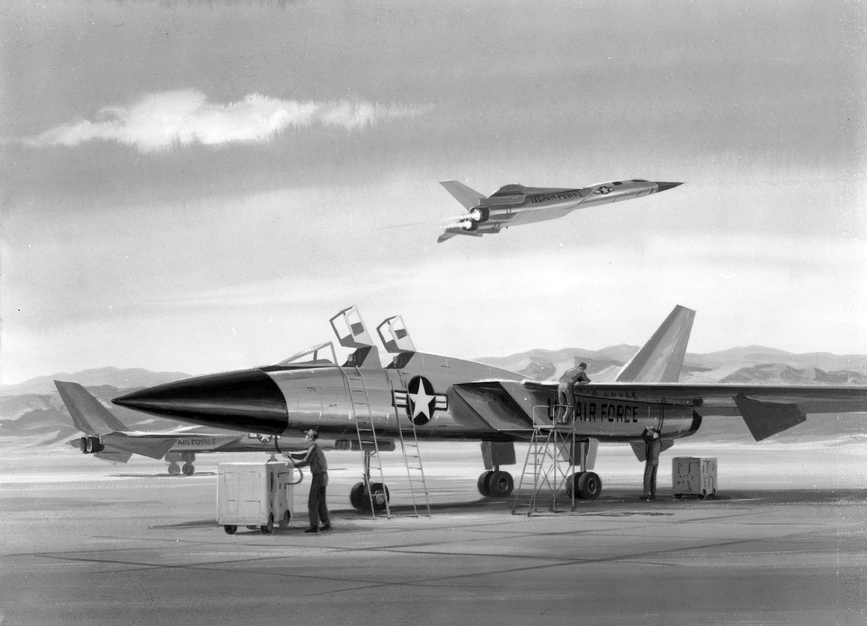 Artist concept of North American Aviation F-108A's operating out of a remote base facility. (National Archives, St. Louis) The nose chine and radome modification show up well in this view of a Lockheed YF-12A pulling up to the KC-135 tanker high over the Mojave Desert. (AFTC/HO) The Hughes